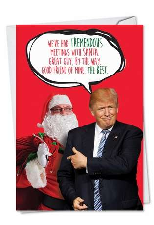 Trump Meetings With Santa Christmas Greeting Card By Nobleworks