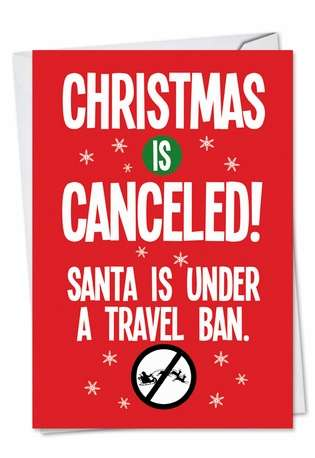 Hilarious Christmas Printed Card from NobleWorksCards.com - Santa Travel Ban