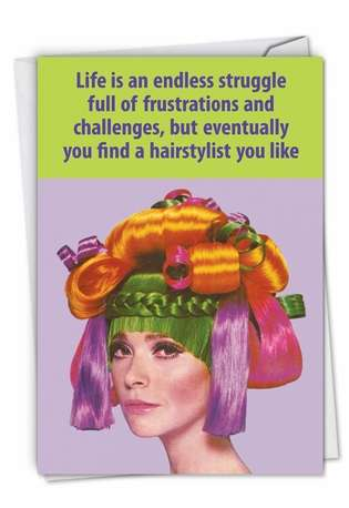 Hysterical Thank You Printed Card By Ephemera From NobleWorksCards.com - Hair Stylist