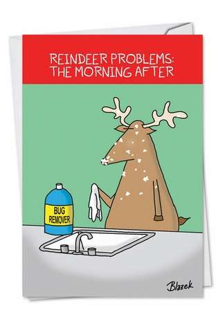 Funny Christmas Printed Greeting Card by Dave Blazek from NobleWorksCards.com - Reindeer Problems