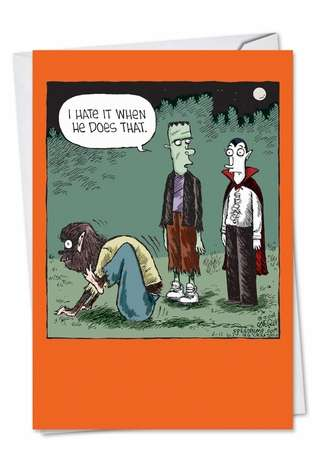 Hysterical Halloween Greeting Card by Dave Coverly from NobleWorksCards.com - Werewolf Scootch
