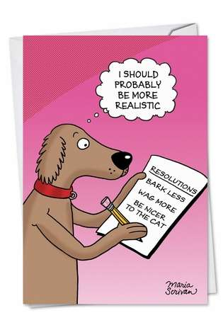 Funny New Year Paper Card by Maria Scrivan from NobleWorksCards.com - Dog Resolutions