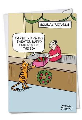 Funny Christmas Printed Greeting Card by Maria Scrivan from NobleWorksCards.com - Keep The Box