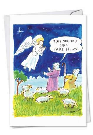 Fake News Angel Christmas Paper Card By Nobleworks