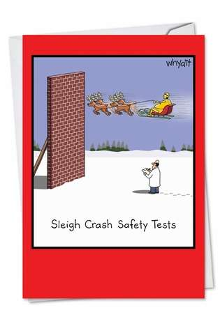 Sleigh Safety Tests Christmas Card By Nobleworks