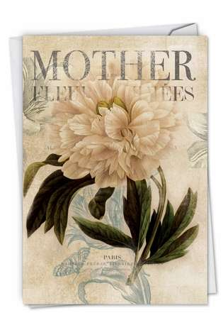 Stylish Mother's Day Paper Card by Carol Robinson from NobleWorksCards.com - Painted Peonies
