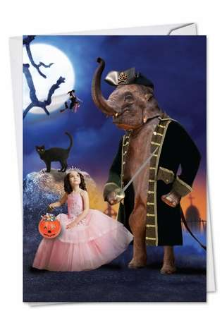 Humorous Halloween Paper Greeting Card from NobleWorksCards.com - Elefantasy