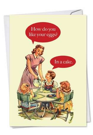 Hysterical Birthday Greeting Card from NobleWorksCards.com - Eggs In Cake