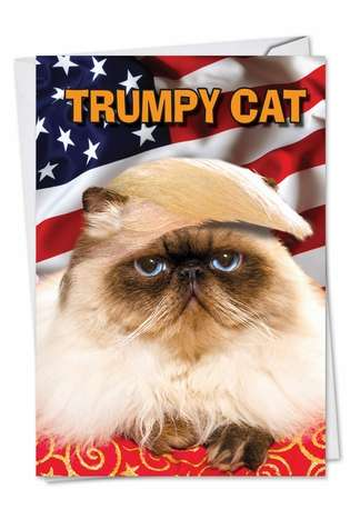 Funny Birthday Greeting Card from NobleWorksCards.com - Trumpy Cat
