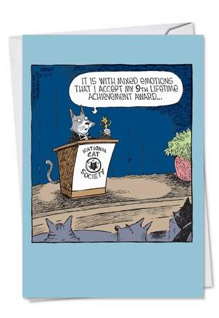 Humorous Congratulations Paper Greeting Card by Dave Coverly from NobleWorksCards.com - Cat Achievement