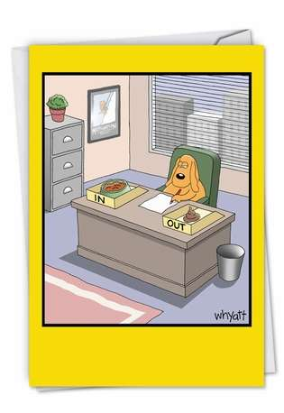 Humorous Administrative Professionals Day Paper Greeting Card by Tim Whyatt from NobleWorksCards.com - Working Dog From All
