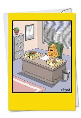 Hysterical Birthday Printed Greeting Card by Tim Whyatt from NobleWorksCards.com - Working Dog