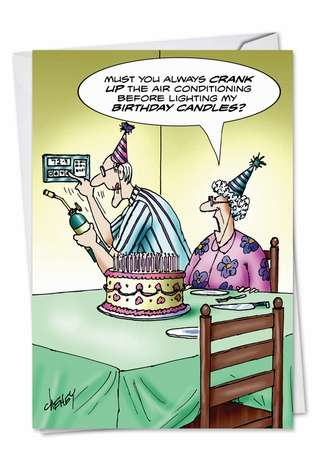 Hilarious Birthday Greeting Card by Tom Cheney from NobleWorksCards.com - Hot Candles