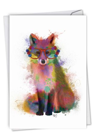 Stylish Birthday Paper Card By World Art Group From NobleWorksCards.com - Funky Rainbow Wildlife - Fox