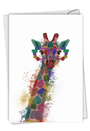 Funky Rainbow Wildlife - Giraffe: Creative Congratulations Printed Card