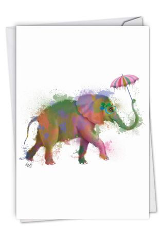 Stylish Birthday Paper Greeting Card By World Art Group From NobleWorksCards.com - Funky Rainbow Wildlife - Elephant