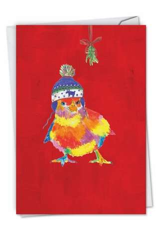 Stylish Christmas Paper Card by Janet Tava from NobleWorksCards.com - Funny Farm - Chick