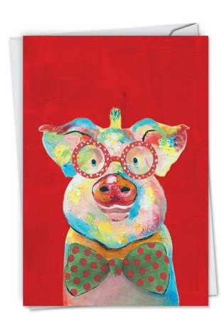 Creative Christmas Greeting Card by Janet Tava from NobleWorksCards.com - Funny Farm - Pig