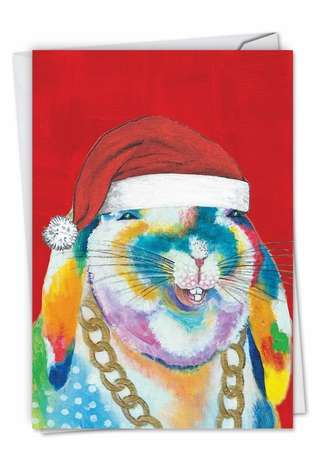 Stylish Christmas Printed Card by Janet Tava from NobleWorksCards.com - Funny Farm - Bunny