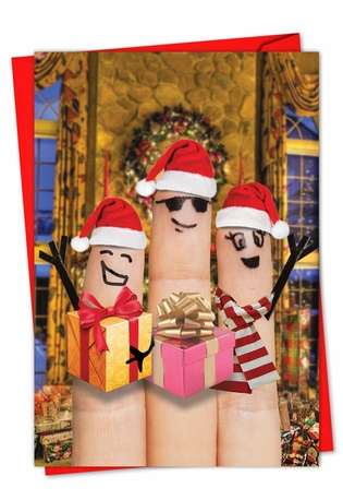 Creative Christmas Printed Card from NobleWorksCards.com - Fingers Carolers