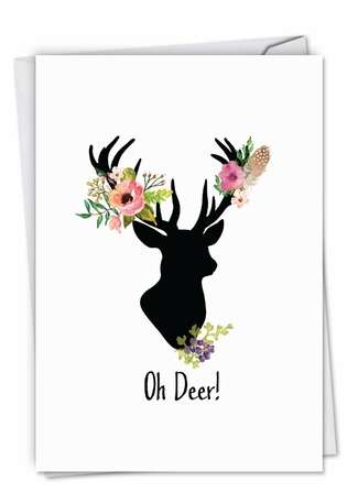 Stylish Christmas Paper Greeting Card by Batya Sagy from NobleWorksCards.com - Oh Deer