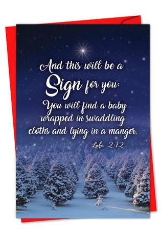 Stylish Christmas Paper Greeting Card from NobleWorksCards.com - Christmas Quotes Luke 2:12