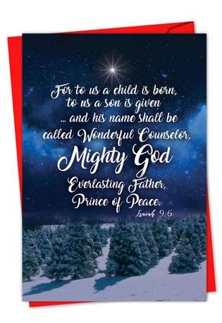 Creative Christmas Printed Greeting Card from NobleWorksCards.com - Christmas Quotes Isa 9:6