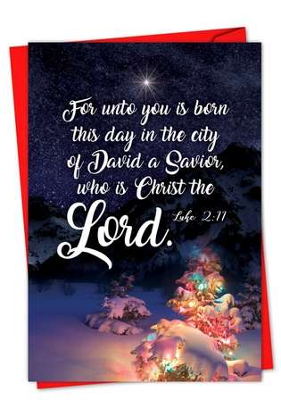 Stylish Christmas Printed Card from NobleWorksCards.com - Christmas Quotes Luke 2:11