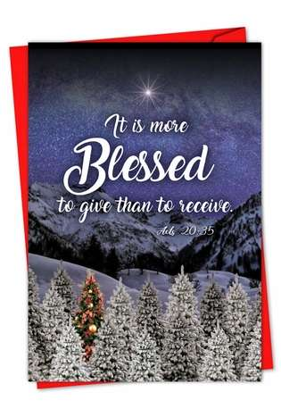 Stylish Christmas Printed Greeting Card from NobleWorksCards.com - Christmas Quotes Acts 20:35