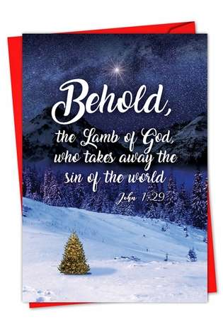 Creative Christmas Paper Card from NobleWorksCards.com - Christmas Quotes John 1:29