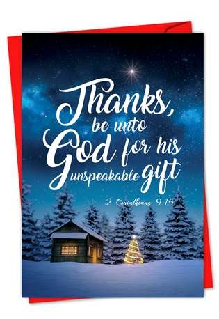 Stylish Christmas Greeting Card from NobleWorksCards.com - Christmas Quotes 2 Cor 9:15