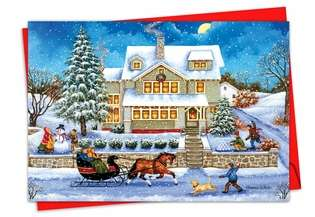 Stylish Christmas Paper Greeting Card by Bonnie White from NobleWorksCards.com - Old Town