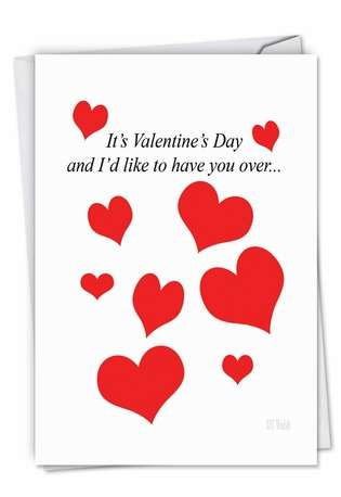 Hilarious Valentine's Day Paper Greeting Card by D. T. Walsh from NobleWorksCards.com - Over and Over