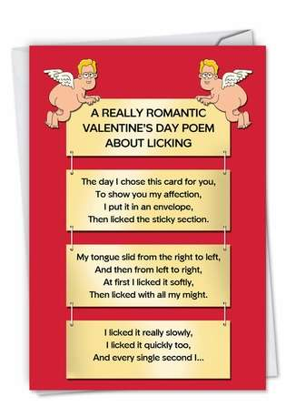 Hilarious Valentine's Day Paper Greeting Card by Tim Whyatt from NobleWorksCards.com - Licking Poem