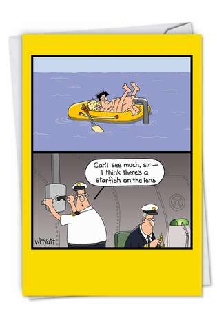 Hilarious Birthday Paper Card by Tim Whyatt from NobleWorksCards.com - Submarine Sighting