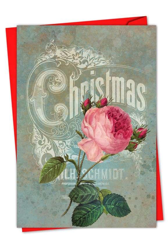 Stylish Christmas Greeting Card by Batya Sagy from NobleWorksCards.com - Christmas Roses