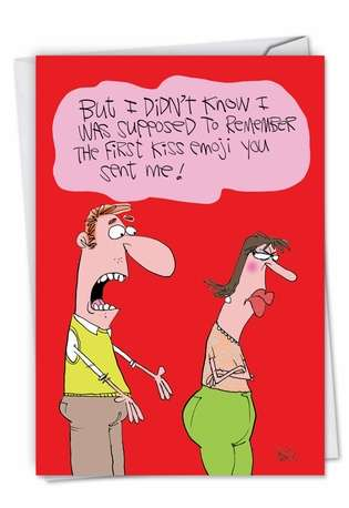 Humorous Anniversary Paper Greeting Card by Gary McCoy from NobleWorksCards.com - First Kiss Emoji