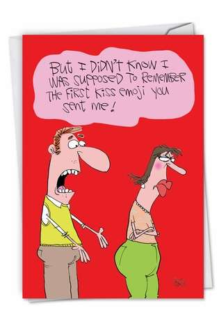 Hysterical Valentine's Day Printed Greeting Card by Gary McCoy from NobleWorksCards.com - First Kiss Emoji