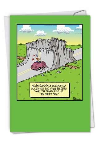 Humorous St. Patrick's Day Paper Card by Bill Whitehead from NobleWorksCards.com - May The Road Rise Up