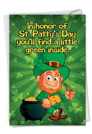 Funny St. Patrick's Day Printed Card by Nick Barelli from NobleWorksCards.com - A Little Green