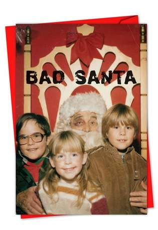 Black-Eyed Santa: Hysterical Seasons Greetings Greeting Card