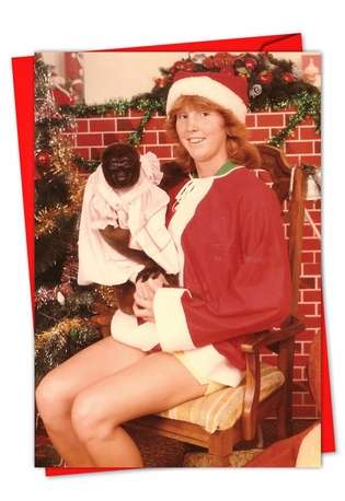 Funny Seasons Greetings Paper Card by Awkward Family Photos from NobleWorksCards.com - Monkey Gift