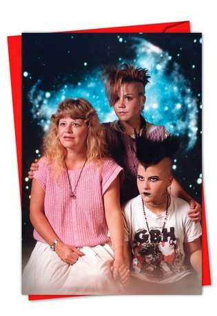 Hilarious Seasons Greetings Greeting Card by Awkward Family Photos from NobleWorksCards.com - Punk Family