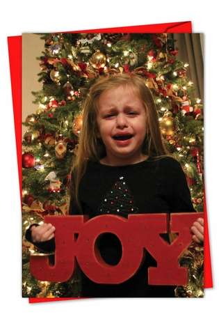 Hilarious Seasons Greetings Paper Card by Awkward Family Photos from NobleWorksCards.com - Tears Of Joy