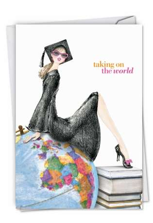 Stylish Graduation Printed Greeting Card by Deborah Koncan from NobleWorksCards.com - Girl On Globe