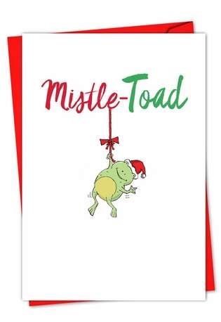 Creative Christmas Paper Greeting Card from NobleWorksCards.com - It Was The Pun Before Christmas - Frog