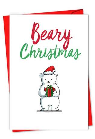 Stylish Christmas Printed Greeting Card from NobleWorksCards.com - It Was The Pun Before Christmas - Polar Bear