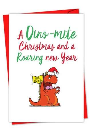 Stylish Christmas Greeting Card from NobleWorksCards.com - It Was The Pun Before Christmas - Dino