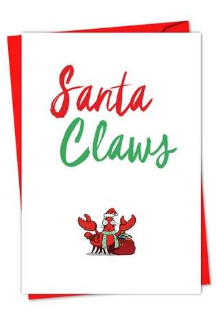 Creative Christmas Printed Card from NobleWorksCards.com - It Was The Pun Before Christmas - Crab