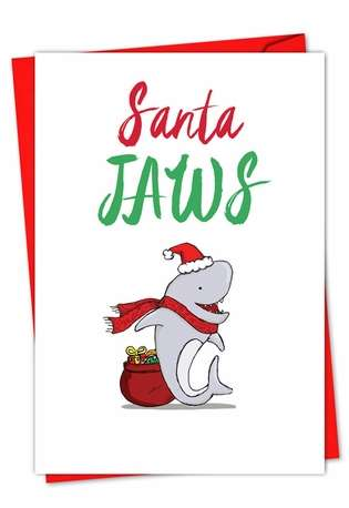 Stylish Christmas Paper Greeting Card from NobleWorksCards.com - It Was The Pun Before Christmas - Shark